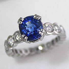Platinum Sapphire Diamond Ring Size 7