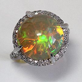 White Gold Ethiopian Opal Diamond Engagement Ring Size 7