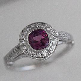 Platinum Sapphire Diamond Engagement Ring Size 7