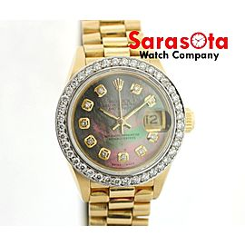 Rolex Datejust President 69178 Tahitian MOP Diamond Dial/Bezel 18K Women's Watch