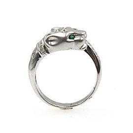 Diamond Emerald Panther 18 Karat White Gold Ring