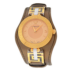 Versace V-Signature VLA04 0014 Gold IP Brown 38MM Watch