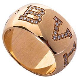 Bulgari Monologo Diamond Signature 18k Rose Gold Band Ring Size 7.5