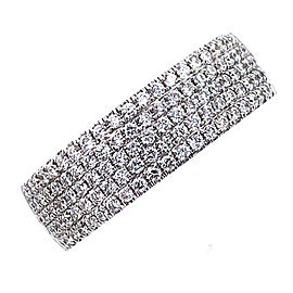 Tiffany & Co. Metro Diamond 5 Row 18k White Gold Band Ring Size 7.75