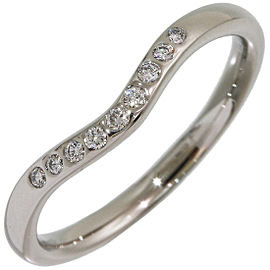Tiffany & Co. Elsa Peretti Platinum Diamond Curved Ring Size 5.25