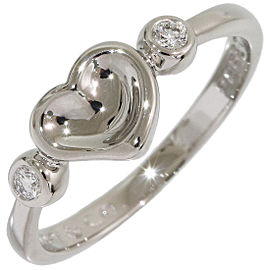 Tiffany & Co. Elsa Peretti Diamonds Full Heart Platinum Diamond Ring Size 5.25