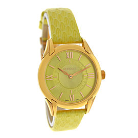 Versace Dafne VFF05 0013 Gold Steel Lime Green Quartz 33MM Watch