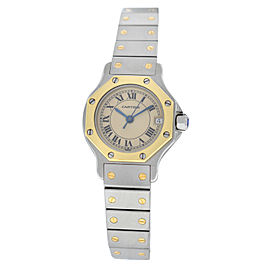 Ladies Cartier Santos Octagon 187903 Steel 18K Yellow Gold 25MM Quartz Watch