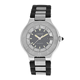 Mens Cartier 2427 Autoscaph 37MM Stainless Steel Date Automatic Watch