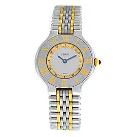Ladies Cartier Must de Cartier 1340 Quartz Steel Gold 28MM Bullet Bracelet Watch