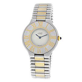 Ladies Cartier Must de Cartier 21 Stainless Steel Gold Bullet 31MM Quartz Watch