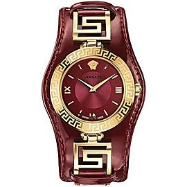Versace V-Signature VLA03 0014 Gold Plated Burgundy 38MM Watch