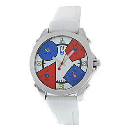 Unisex Jacob & Co. Five 5 Time Zone NBA 40mm Steel MOP Quartz Watch