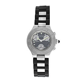 Ladies Cartier Chronoscaph 2996 Steel 32MM Chrono Date Quartz Watch