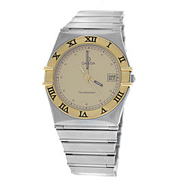 Unisex Omega Constellation 1410.10 Quartz Steel Gold Date 32MM Watch