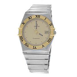 Unisex Omega Constellation 1410.10 Quartz Steel Gold Date 32MM Watch