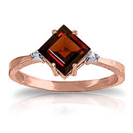 1.77 CTW 14K Solid Rose Gold Espirit Garnet Diamond Ring