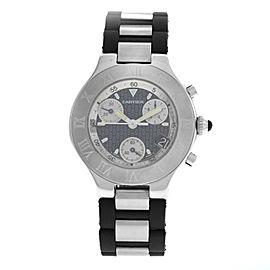 Men's Cartier 2424 Chronoscaph 38MM Steel Date Quartz Chronograph Watch