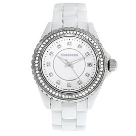 Ladies Tourneau 53411-2 Steel Ceramic Diamond Quartz 38M Watch