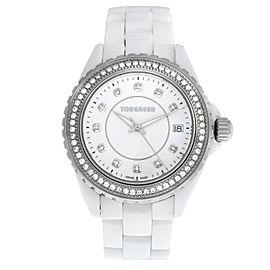 Ladies Tourneau 53411-2 Steel Ceramic Diamond Quartz 38M Watch