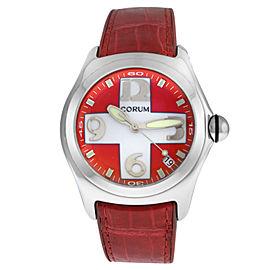 Men's Corum Bubble 163.150.20 0F02 Steel Date Red Swiss Cross Quartz 45MM Watch
