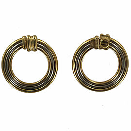 Cartier 18 Karat Tri-Color Gold Large Open Circle Hoop Estate Earrings