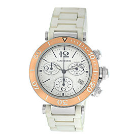 Unisex Cartier Pasha 3129 18K Gold Steel Date Quartz Chronograph 38MM Watch