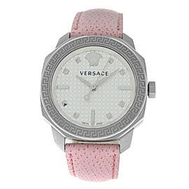 New Versace Dylos VQD01 0015 Steel Quartz 35MM Pink Watch
