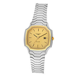 New Unisex Longines Steel Gold Plated Wave Bracelet Date Quartz 30mm Watch