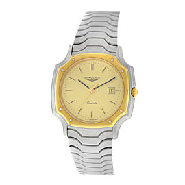 New Ladies Longines Octagon Stainless Steel Gold Plated Date Quartz 30mm Watch
