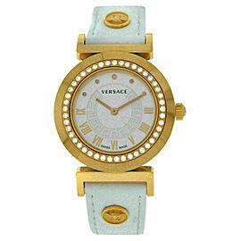 New Versace Vanity P5Q82D001 S001 Gold Tone Diamond Quartz 35MM Watch
