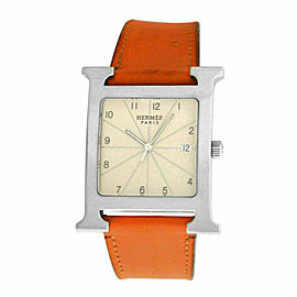 Authentic Unisex Hermes H Hour HH1.810 Steel Quartz 30MM Watch