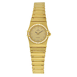 Ladies' Omega Constellation Diamonds 18K Yellow Gold Quartz 22MM Watch