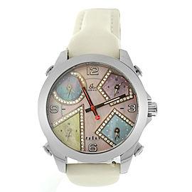 New Unisex Jacob & Co. Five 5 Time Zone JCM-41DA 40mm MOP Diamond Quartz Watch