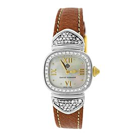 Ladies David Yurman Thoroughbred Sterling Silver MOP Diamond 21MM Quartz Watch