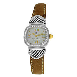 Ladies David Yurman Thoroughbred Silver 925 MOP Diamond 21MM Quartz Watch