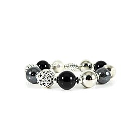 David Yurman Elements Sterling Silver Onyx, Hematine Bracelet