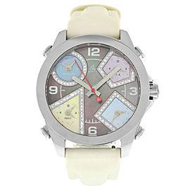 Unisex Jacob & Co. Five 5 Time Zone Watch JCM-54PDA Diamond Steel 40MM MOP
