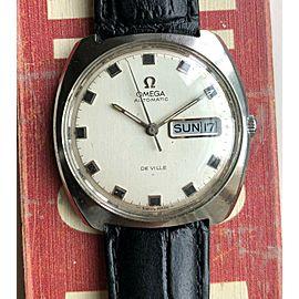 Vintage Omega De Ville Automatic Cushion Case Daydate Steel Watch