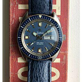 Vintage Zodiac Sea Wolf Vintage Automatic Daydate Blue Dial Diver Steel Watch