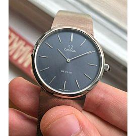 Vintage Omega De Ville Blue Dial Manual Wind Steel w/ Integrated Bracelet watch