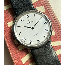 Vintage Omega De Ville Manual Wind White Roman Numeral Dial Steel Case Watch