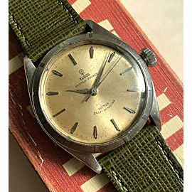 Vintage Tudor Oyster Prince 7965 Automatic Silver Rose Dial 18K Gold Bezel Watch