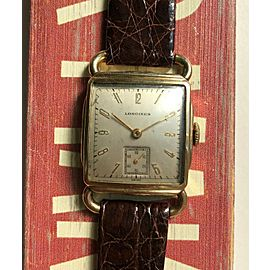 Vintage Longines Gold Manual Wind Square Case Arabic Dial Wired Lugs Watch