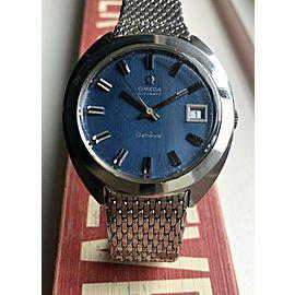 Vintage Omega Geneve Automatic Brushed Blue Dial w/ Bracelet Watch