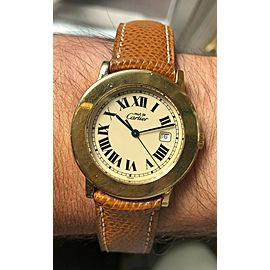 Vintage Cartier Quartz Gold Case Roman Numeral Dial w/ Box and Papers Watch