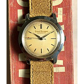 Vintage Girard Perregeux Gyromatic Automatic Patina Dial Steel Case Watch