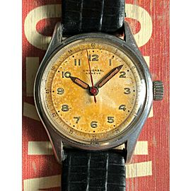 Vintage Universal Geneve Handwind Patina Dial Steel Case Military Style Watch