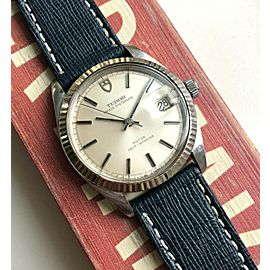 Vintage Tudor Prince Oysterdate Automatic Quickset Date Silver Dial Steel Watch