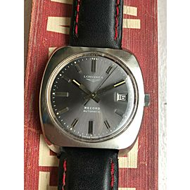 Vintage Longines Record Automatic Grey Dial Cushion Case Steel Watch